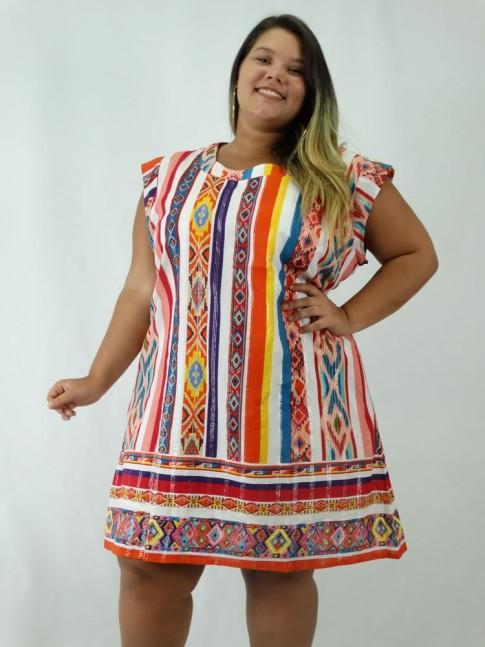 Vestido em Tecido Algodão Estampado Listras Etnicas Listras Colors Plus Size [1903021]