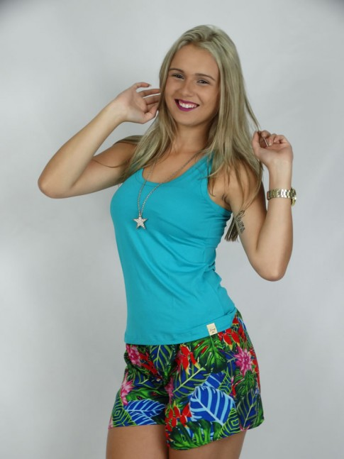308 - Short em Viscose Estampa Tropical Verde