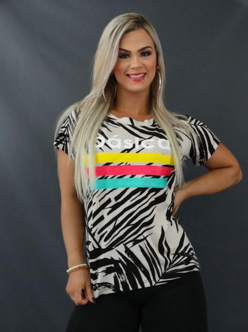 Blusa T-shirt Estampada em Viscolycra Bege Folhas Pretas [2103124]