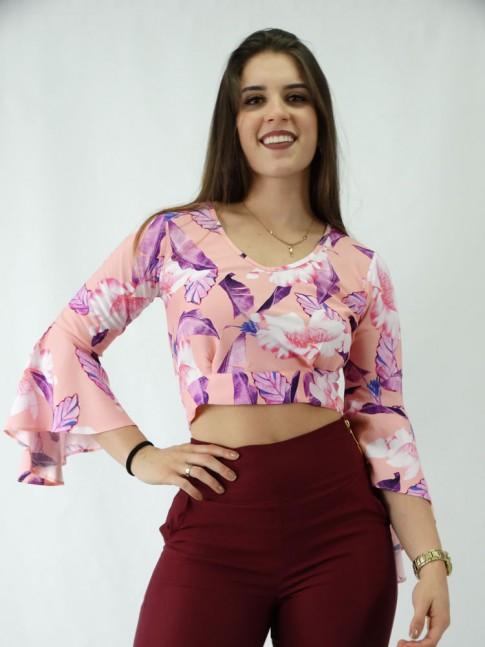 Blusa Cropped em Viscose Manga Longa Flare Amarracao Rosa Flores