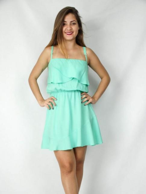 Vestido em Viscose de alca com Sobreposicao Verde
