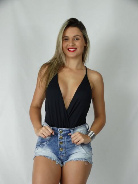 200 - Short Jeans com Strech Hot Pants Frente com Amassado