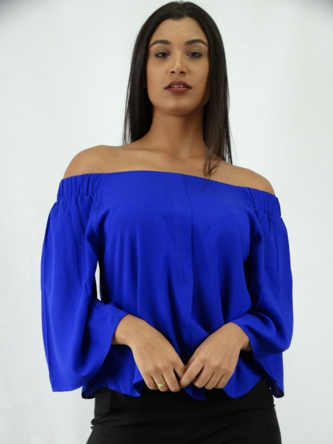 Blusa em Viscose Modelo Ciganinha Manga Flare Azul Caneta