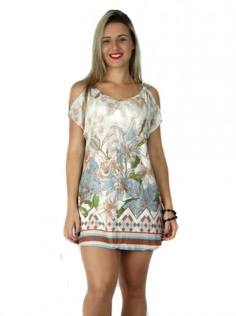 308 - Blusa em Viscolycra com Argola e Recorte no Ombro Estampa Etnica com Flores