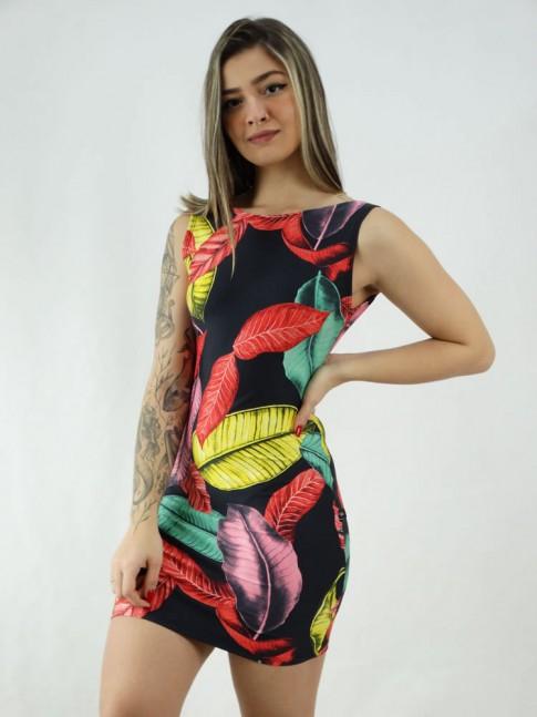 Vestido em Suplex Decote Profundo nas Costas Preto Folhas Amarelo Vermelho [2006035]