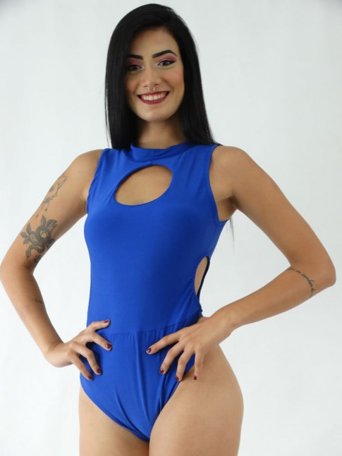 Body em Suplex Decote Redondo com Abertura na Cintura Azul Caneta [1911099]