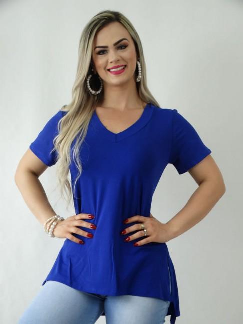 T-Shirt em Viscolycra Decote V Sobre Legging Azul Caneta [1909074]