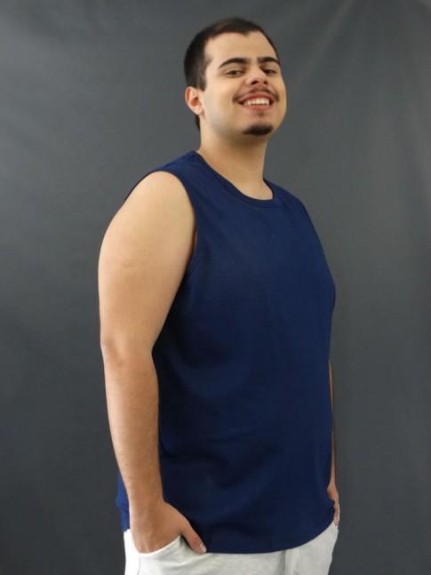 Camiseta Masculina Regata Machão Basic Plus Size Azul Marinho [2010132]