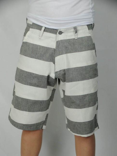 312-Bermuda cargo em brim com bolsos lateral e tras. listrada cinza e branco