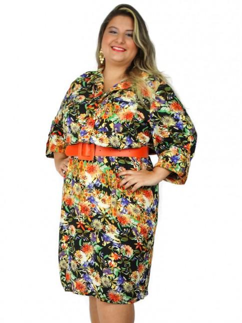 Vestido de viscose com botão de pressão plus size estampa floral hot