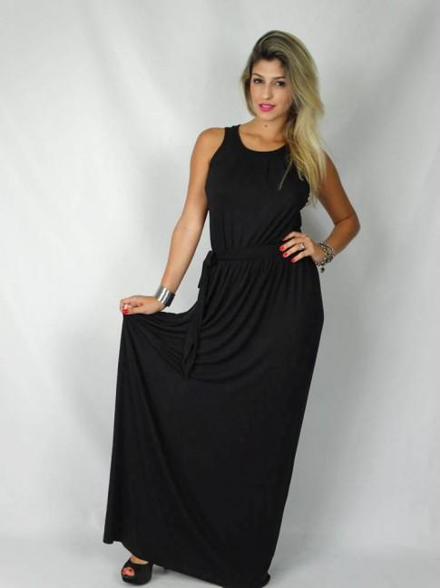 Vestido longo com pregas no decote liso