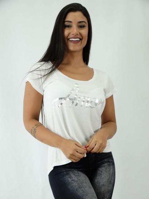 T-shirt em Viscolycra Estilo Mullet Off White Amor [1812082]