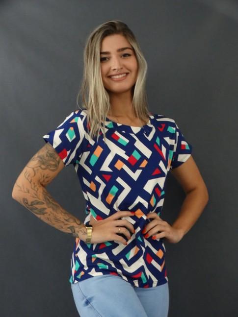 Blusa T-shirt Estampada em Viscolycra Azul Marinho Geométrico [2103150]