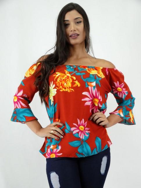 Blusa em Viscose Ciganinha Manga Flare Ferrugem Flores