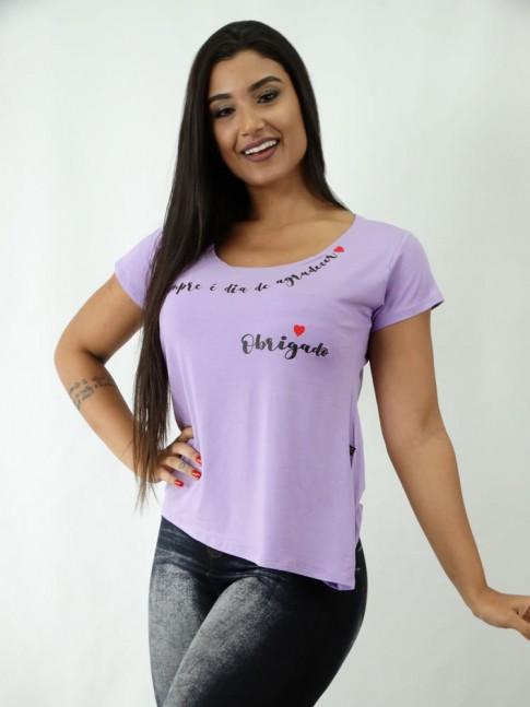 T-shirt em Viscolycra Estilo Mullet Lilá Sempre é Dia [1812077]