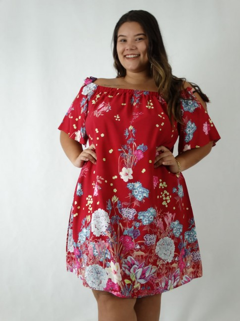 Vestido em Viscose Ciganinha Plus Size Vermelho Flores [1903062]