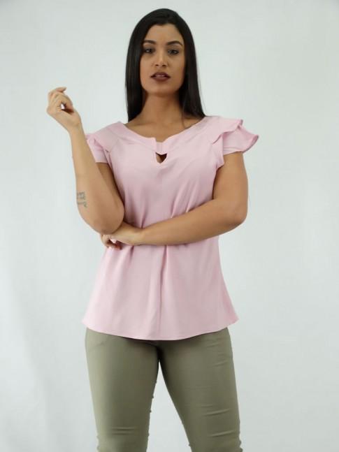Blusa em Viscose detalhe Gota babado Sobreposto Rosa Claro