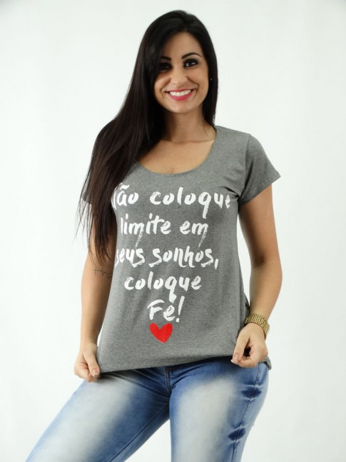 T-shirt em Viscolycra Mullet Estampa Nao Coloque Limites