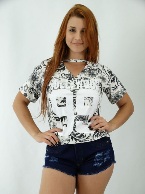 T-shirt em Viscolycra Recorte no decote Hollywood Numeros BF