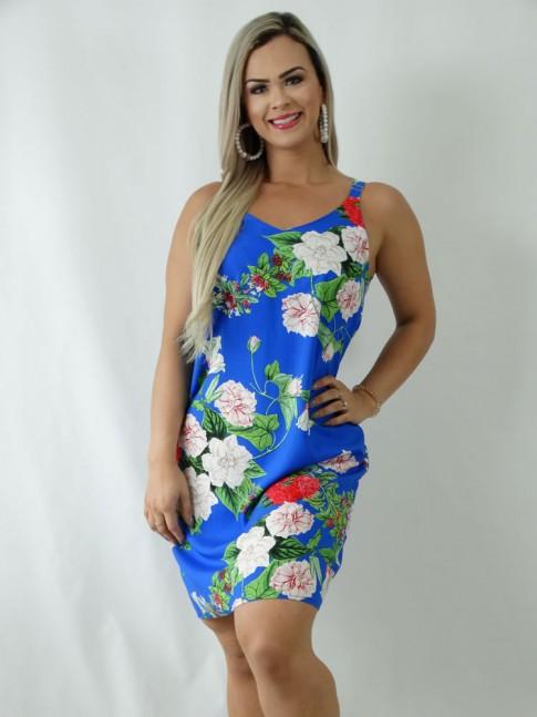 Vestido em Viscose Decote V Alca Larga Azul Flores [1903036]