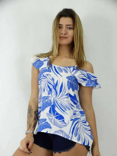 Blusa Abertura no Ombro em Viscose Flora Azul