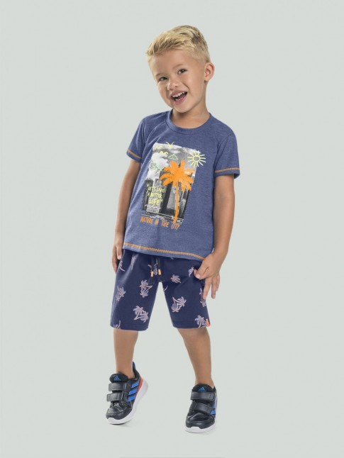 Conjunto Infantil Masculino T-shirt + Short Estampado Azul e Laranja [2008211]
