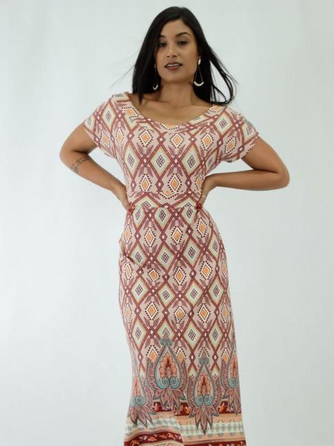 Vestido em Viscolycra de Manguinha Est. Tribal Colors