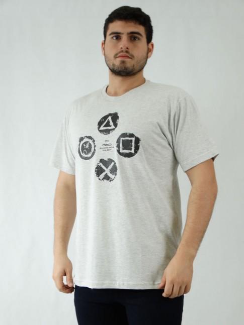 Camisa Masculina em Malha de Algodão Cinza Estampa Game [1907190]