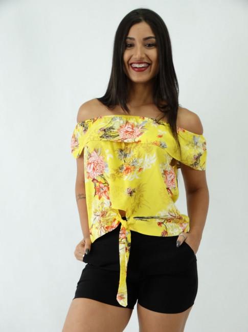 Blusa Ciganinha em Viscose com Amarracao Amarelo Flores