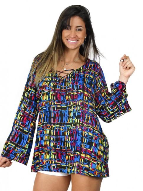 Blusa com decote estampa color