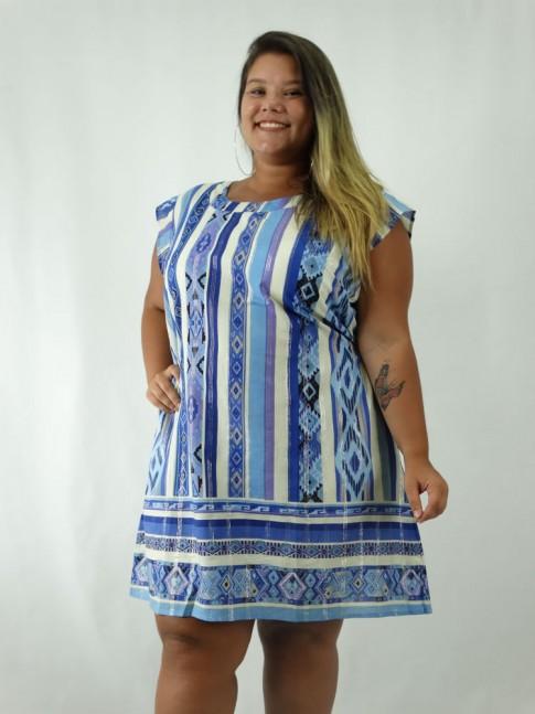 Vestido em Tecido Algodão Estampado Listras Etnicas Azul Indiano Plus Size [1903020]