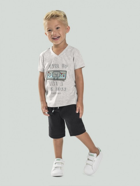 Conjunto Infantil Masculino T-Shirt Gamer + Short Moletinho Cinza e Preto [2008213]