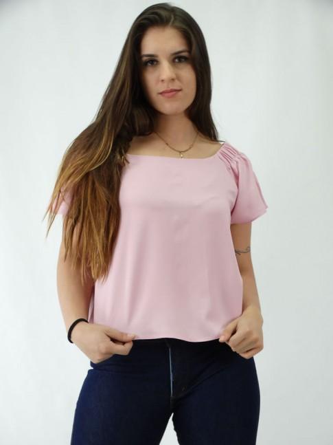 Blusa em Viscose modelo Ciganinha com Amarracao Rosa Claro