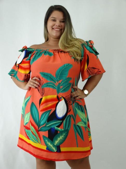 Vestido em Viscose Ciganinha Plus Size Coral Tucano Flores [1812183&91;