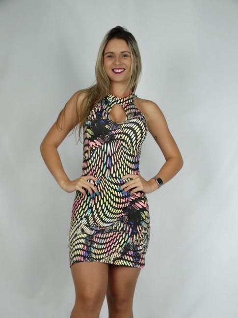 100 - Vestido com Bojo em Suplex Inteiro Decote Gota com Ilhos Estampa Etnica