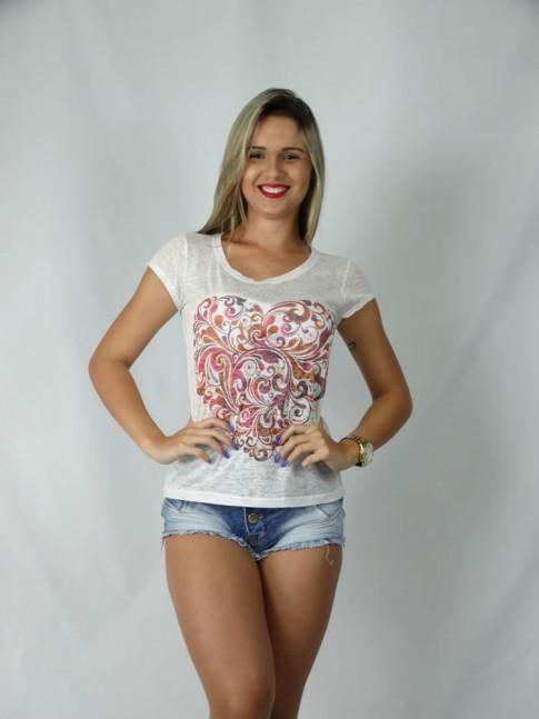 313 - T-Shirt Baby Look em Devorê Estampa Coraçao Floral 70