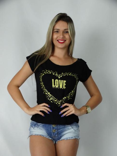 100 - Blusa em Visco Lycra com Estampa Love Costas com Decote e Babado