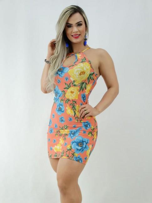 Vestido em Suplex Decote Gota Salmão Flores [2003065]
