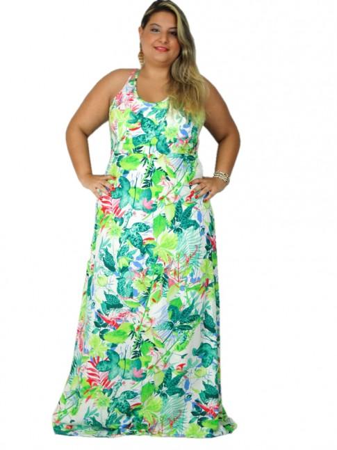 Vestido de viscose longo com duas alças cruzadas plus size estampa floral tropical