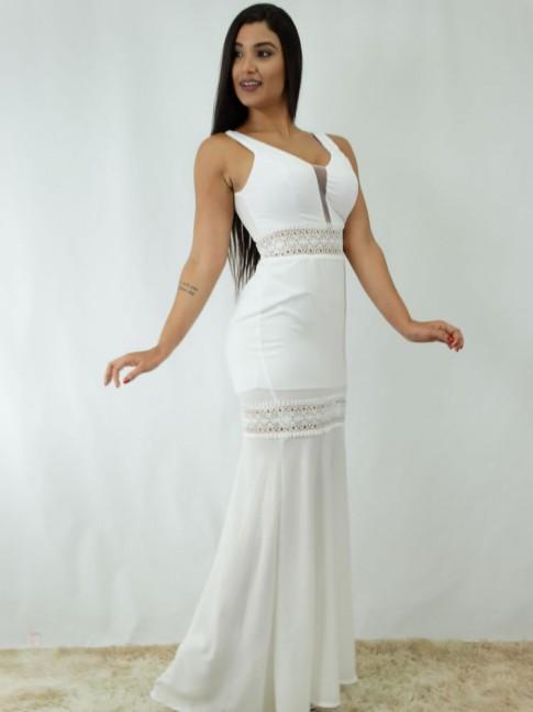 Vestido Longo em Crepe com Guipir Branco [1812104]