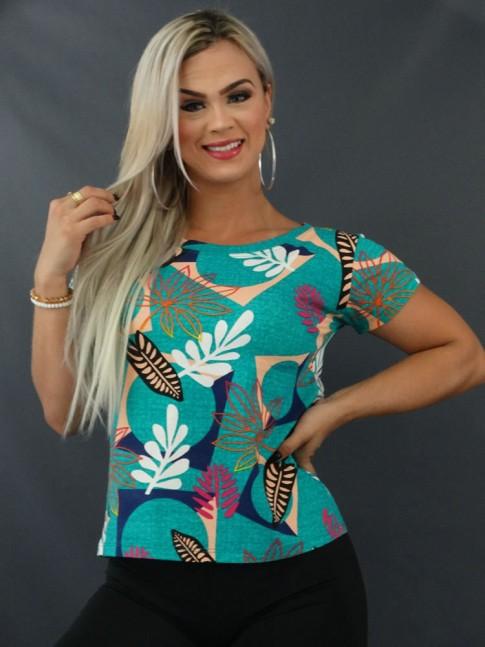 Blusa T-shirt Estampada em Viscolycra Verde Folhas Colors [2103142]