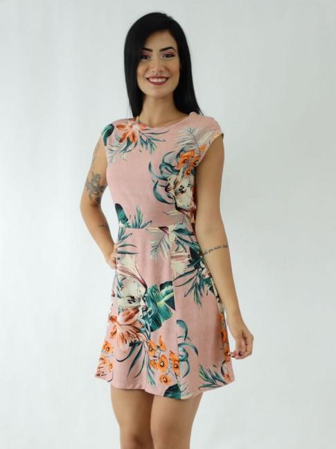 Vestido em Viscose Transpassado nas Costas Rose Folhas Flores [1911047]