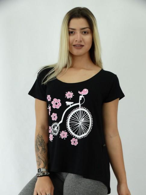 T-shirt em Viscolycra Mullet Estampa Bike Vintage Flores