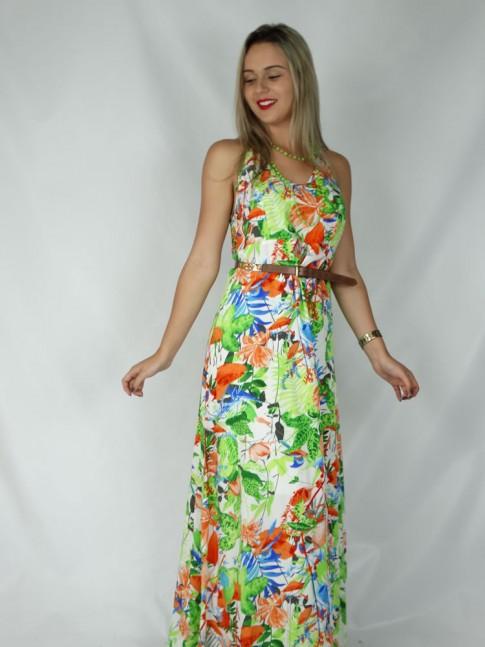 Vestido de viscose longo com duas alças cruzadas estampa floral verde
