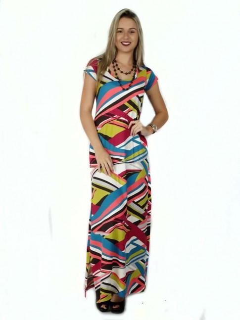 314 -  Vestido Longo com Fenda em Visco Estampa Geométrica color 632