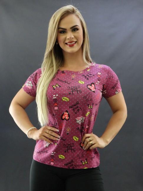 T-shirt Estampada em Viscolycra Roxo Jogo da Velha [2009056]