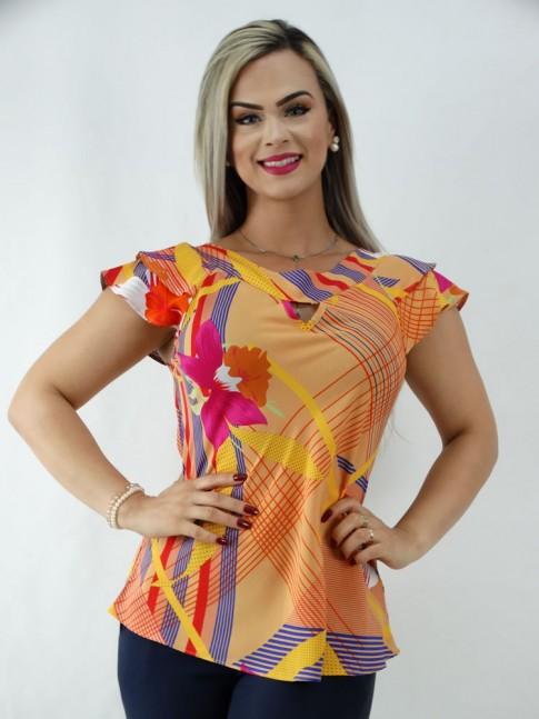Blusa em Viscose Detalhe Gota Babado Sobreposto Colors Etnico Flores [2001046]