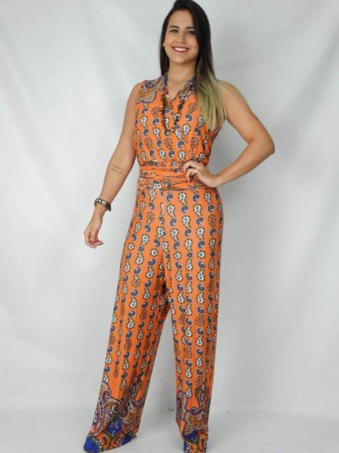 308-Macacão transpassado 3 em 1 estampa paisley laranja