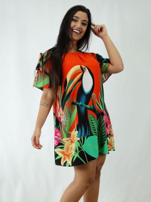 Vestido em Viscose Ciganinha Coral Tucano [1812073]