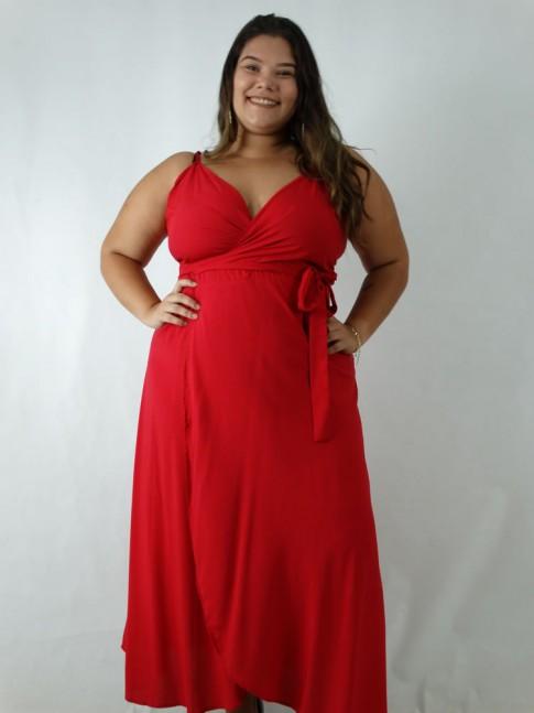Vestido em Viscose Envelope Plus Size Vermelho [1905011]